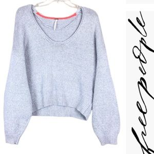 FREE PEOPLE Chunky Cotton Grey Crop sweater Top